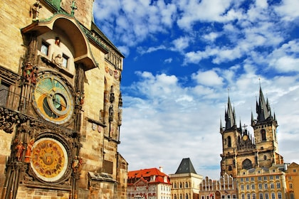 Astronomical clock and the church of Our Lady in Old Town Square