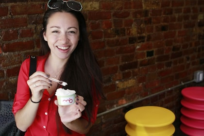 Woman enjoying gelato during the summer in New York