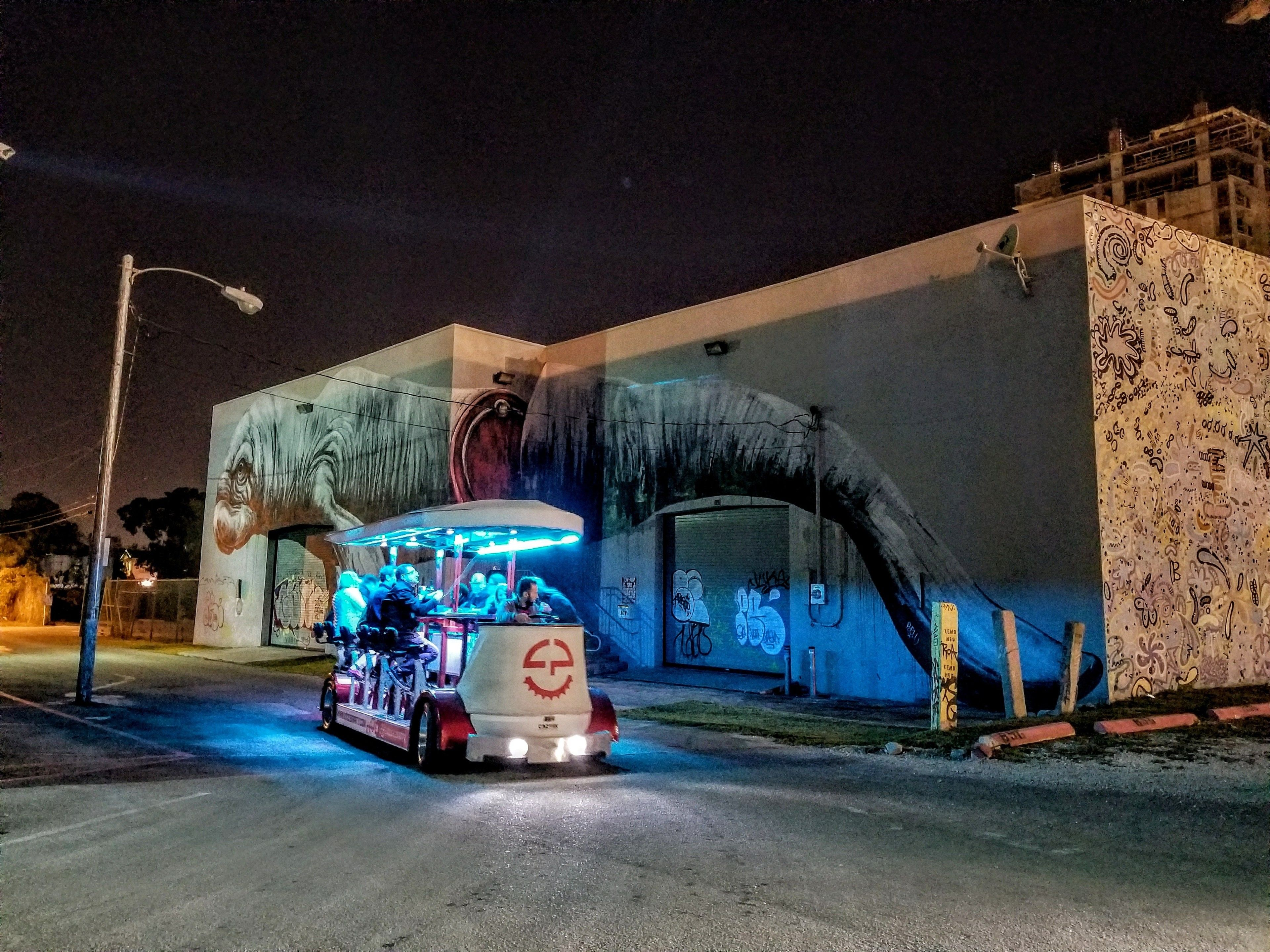 Night view of the Cycle Party bike in Wynwood