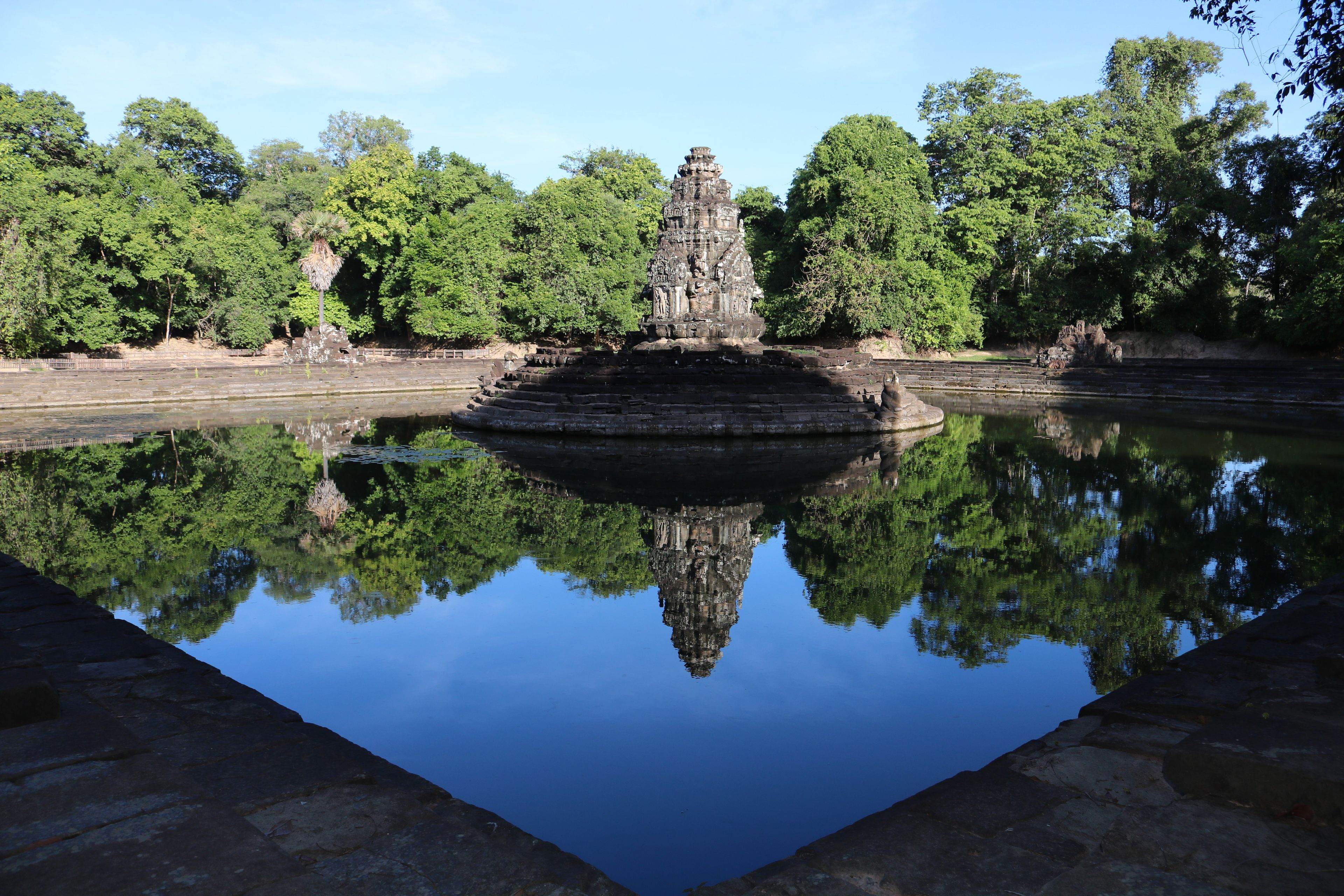 Pool in front of a temple in Cambodia