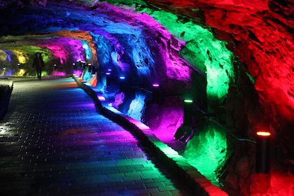 Colorful lights on the walls of Gwangmyeong Cave