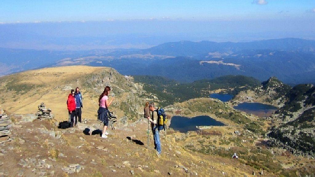 Group walking The Seven Rila Lakes