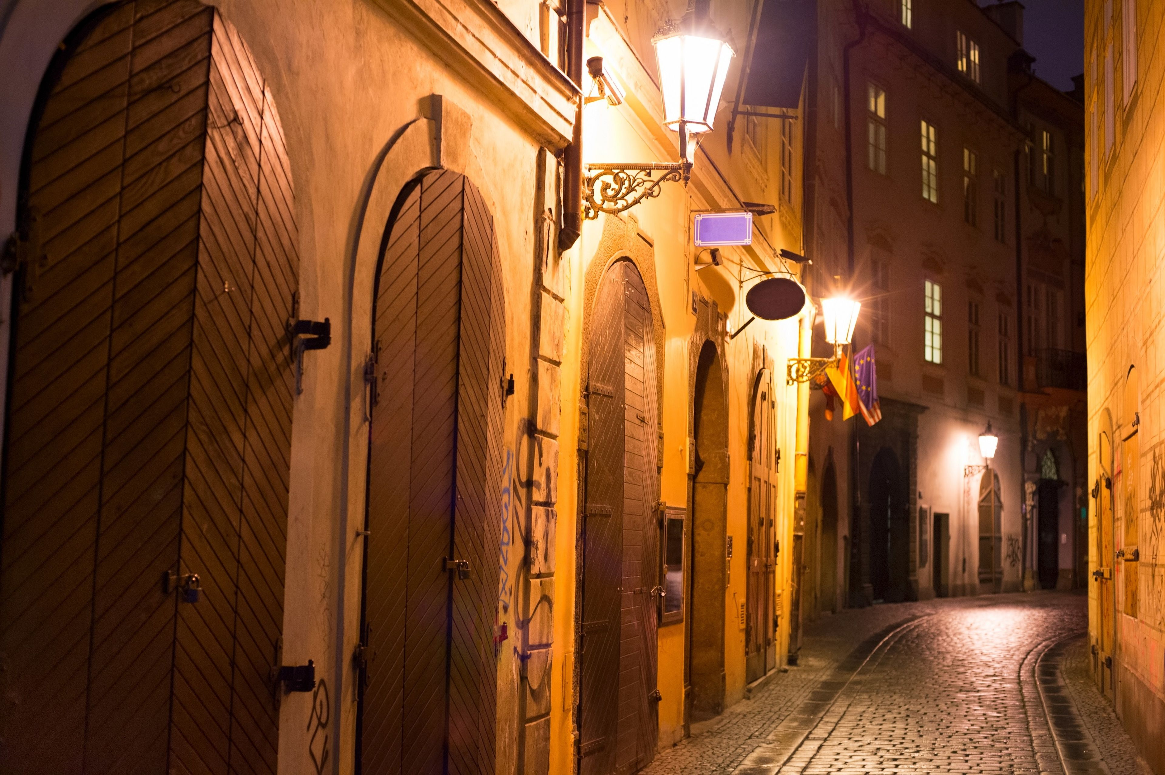 Night view of a small street in Prague