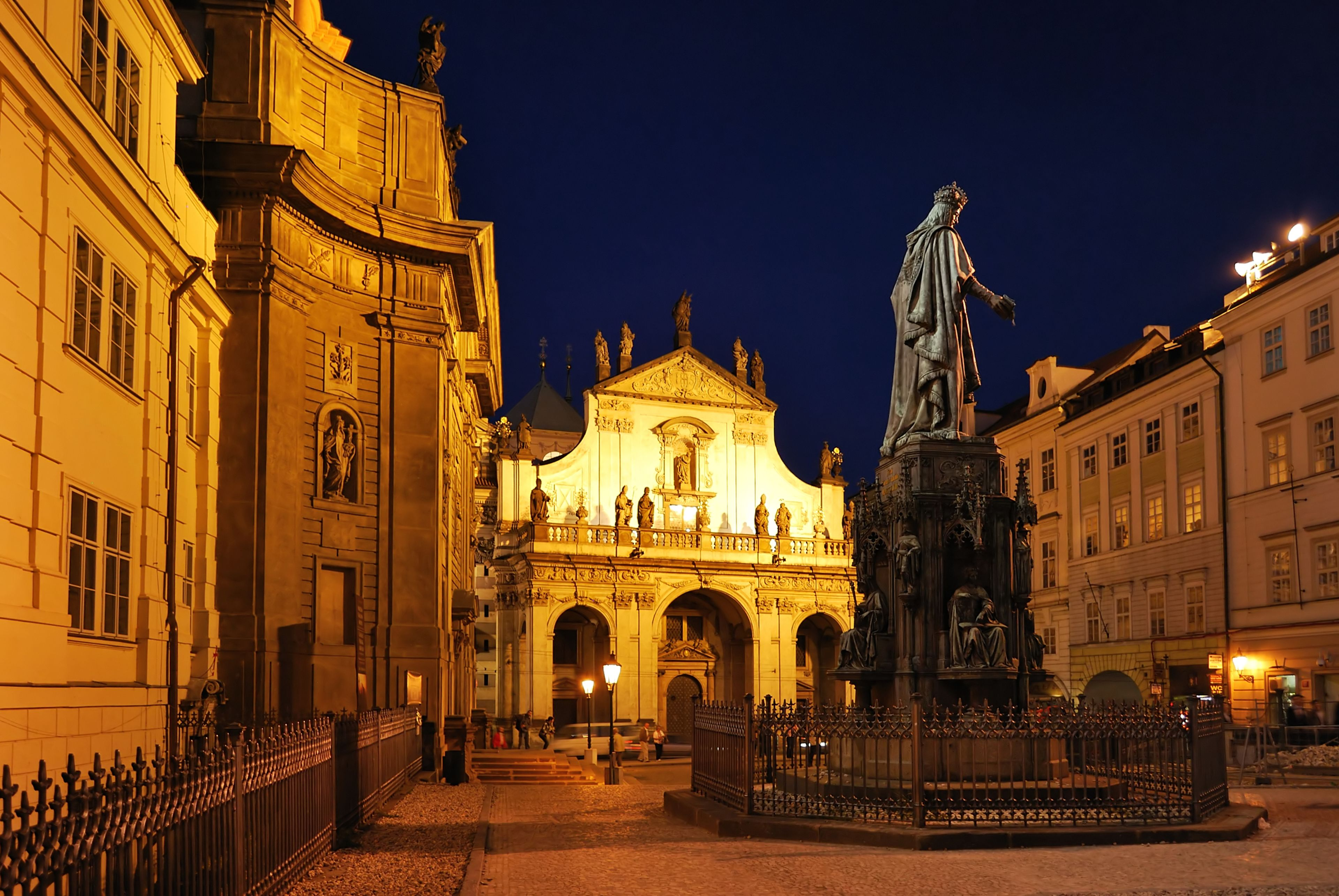 evening view outside of St. Salvator Church in Prague