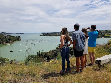 Tour group takes a photo at the Bay of Islands