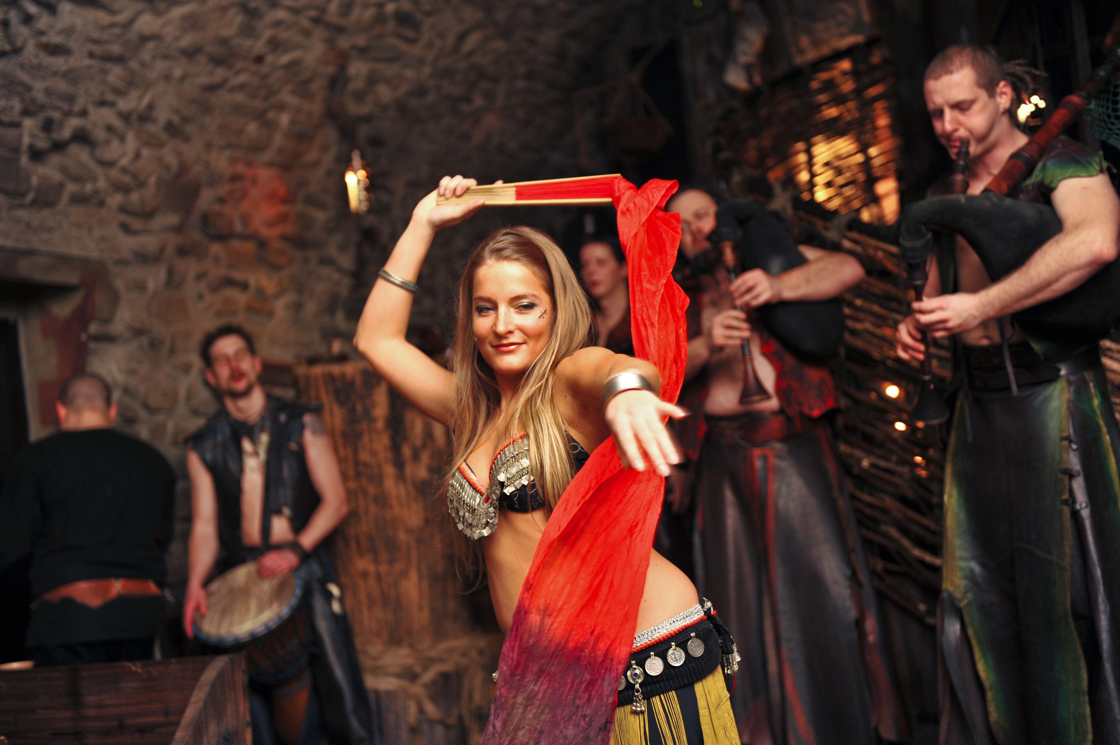 Dancer at the Medieval dinner in Prague