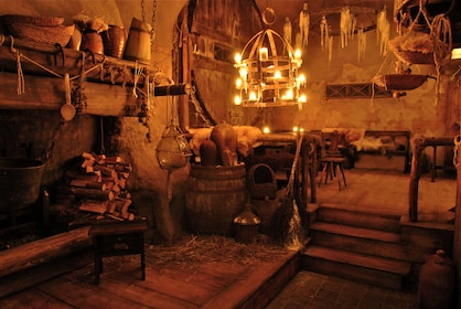 Inside the Medieval dinner venue in Prague