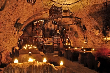 Dining area for the Medieval dinner in Prague