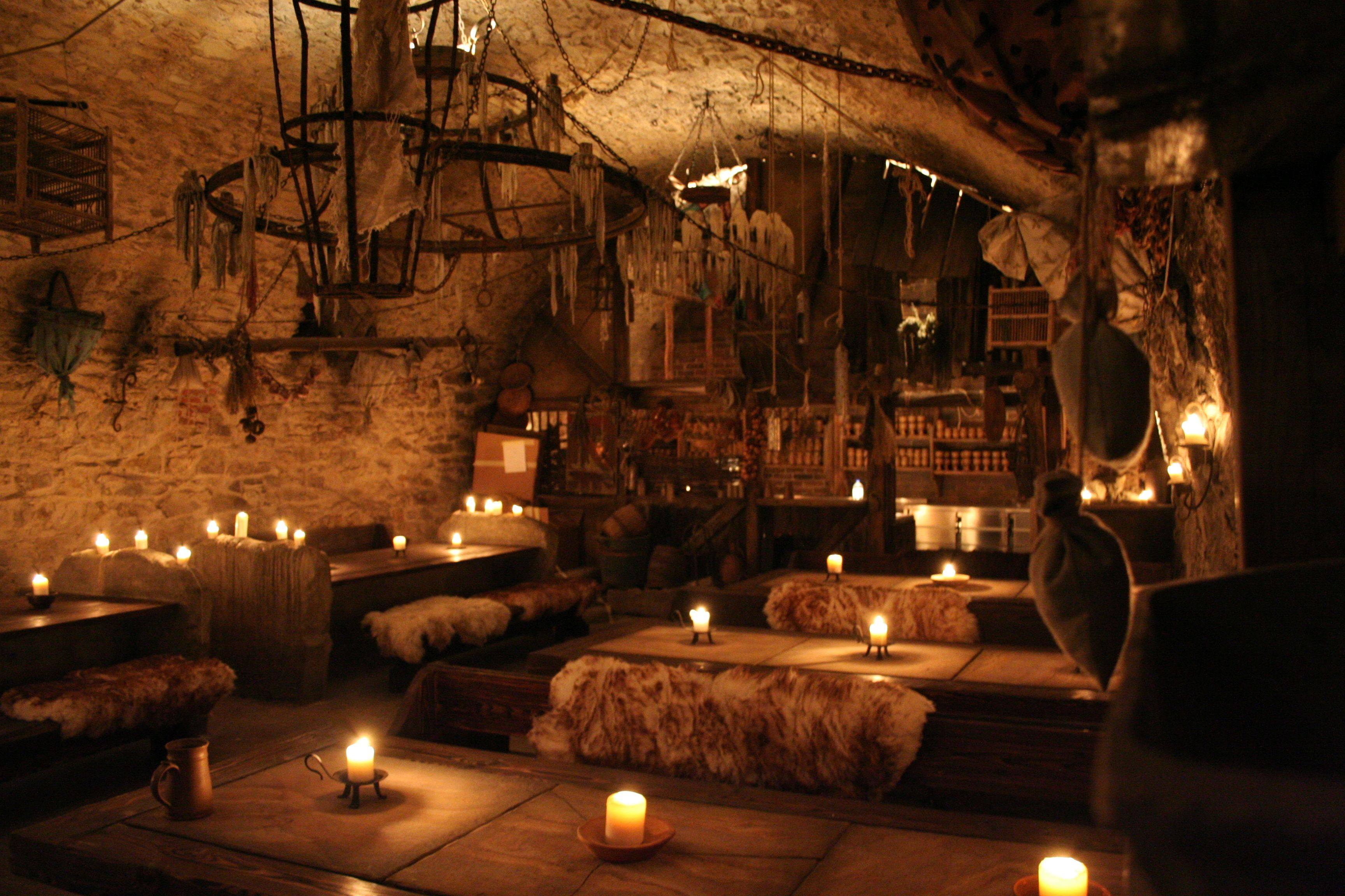 Seating areas for the Medieval dinner in Prague