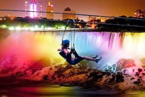 Night-time Falls Illumination Zipline To Niagara Falls