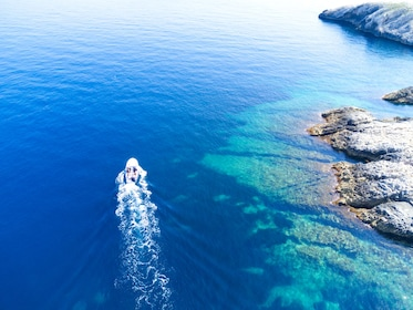 Aerial views of the beautiful blue waters of Hvar