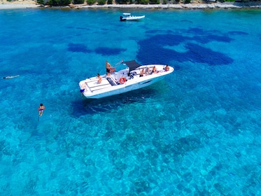 Aerial view of a boat cruising in Split