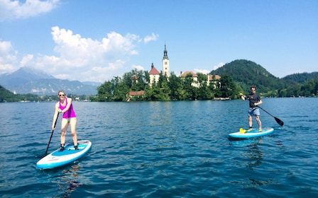 Paddle boarders on Lake Bled