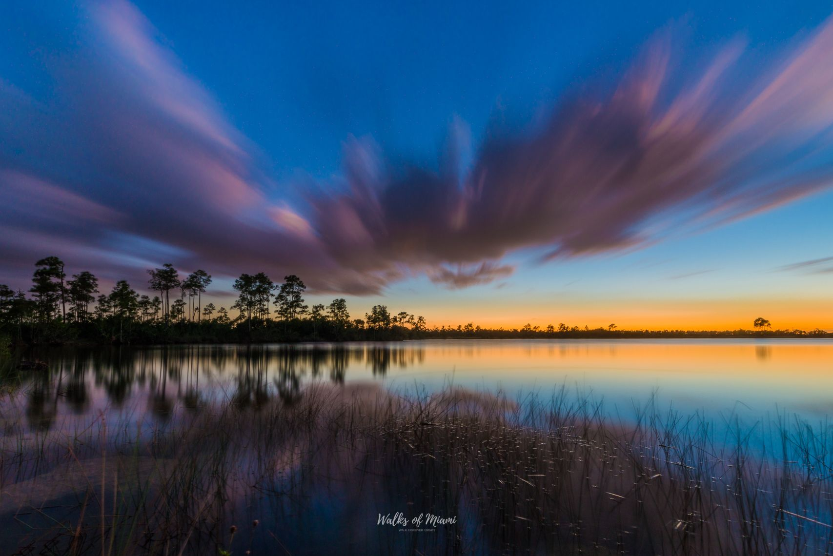 Landscape views of the sunset at Everglades National Park
