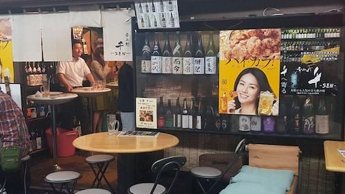 Seating area inside a restaurant in Nagoya