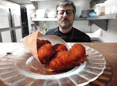 Chef with tapas in Barcelona