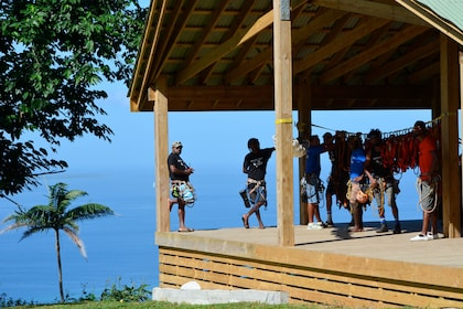 Group on the platform getting ready to go ziplining in Port Vila