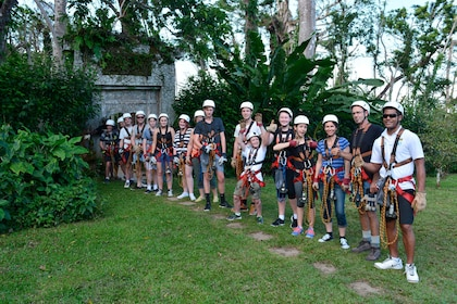 Large group getting ready to go on a ziplining tour in Port Vila