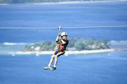 Child ziplining in Port Vila