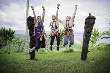 Group wearing gear ready to go ziplining in Port Vila