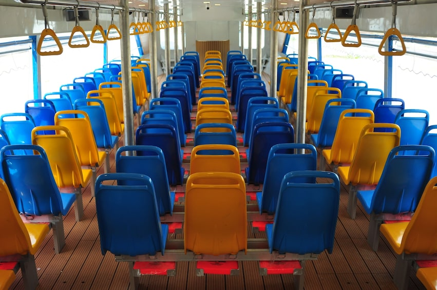 Show item 3 of 5. Seats aboard the Chao Phraya Tourist Boat