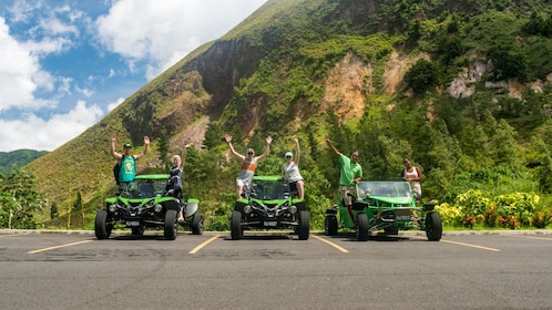 Tour group with ATVs parked in St Lucia