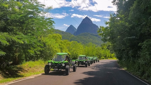 Row of ATVs on a street in St Lucia