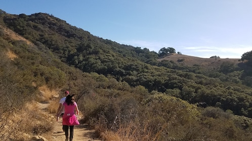 Hiking couple on a trail in Los Angeles