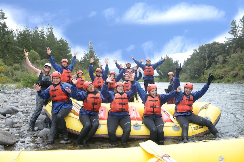 Show item 8 of 8. Group white water rafting in the Tongariro River