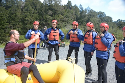 Group getting ready to go white water rafting in Tongariro River