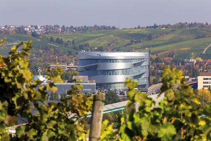 View of the Mercedes-Benz Museum from a vineyard in Stuttgart