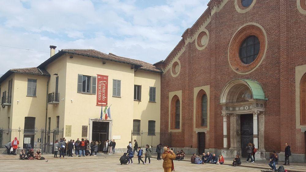 Exterior of the Santa Maria delle Grazie monastery in Milan, Italy