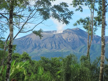 View of the smoking volcano crater in Liberia