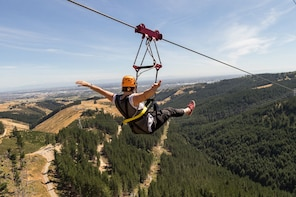 Zip line across Christchurch Adventure Park