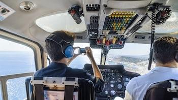 Helicopter flight over Barcelona's coastline