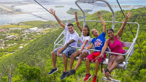 Young people on a chair lift in St. Barthelemy