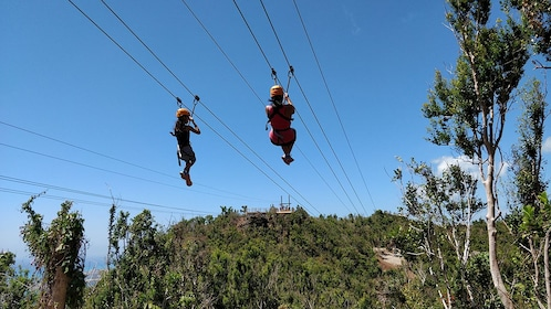 Pair of zipliners in St. Barthelemy