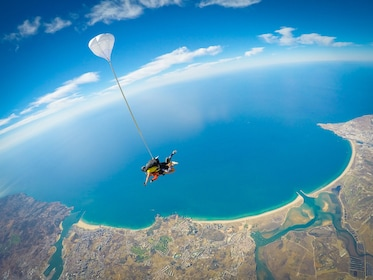 Skydiver above Algarve