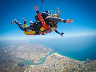 Skydivers take a selfie in freefall