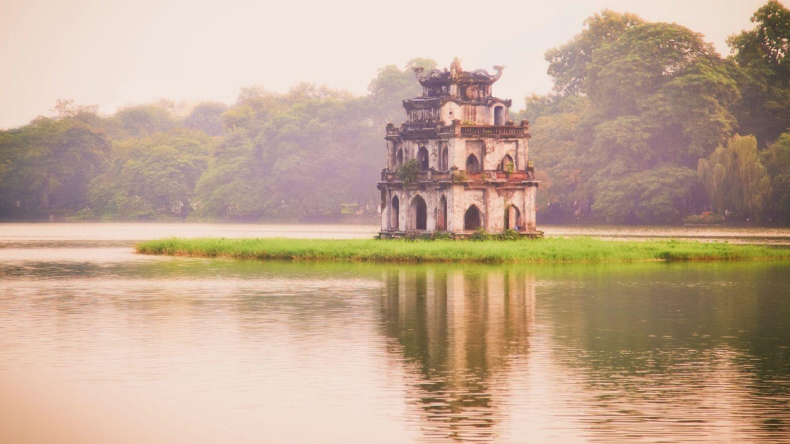 Temple on a lake island in Hanoi
