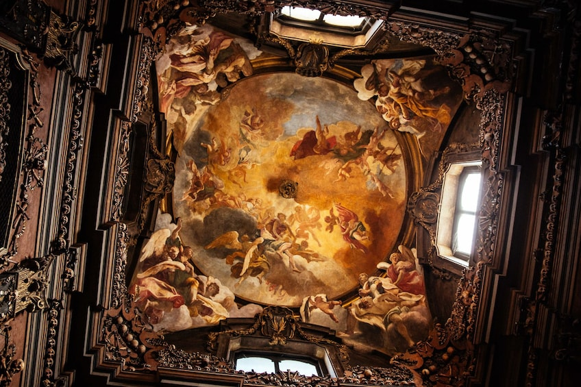 Show item 5 of 8. Magnificent view of the ceiling inside San Bernardino alle Ossa in Milan