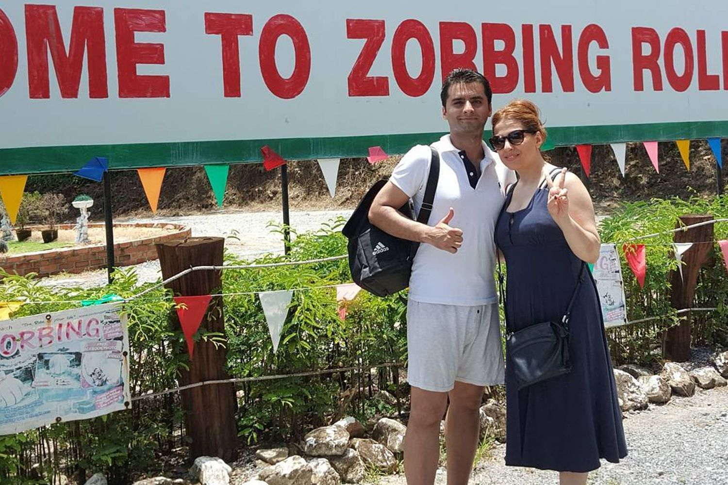 Couple about to go zorbing in Phuket