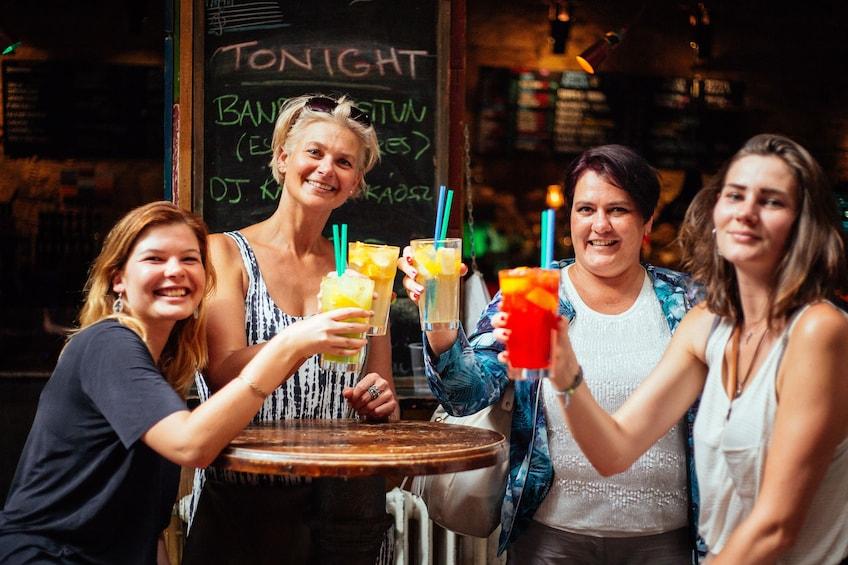 Group having drinks in Budapest