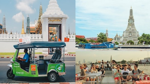 โหลดรายการที่ 1 จาก 10 Collage of images from the activity: tuk tuk vehicle and river boat cruise in Bangkok