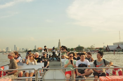 Passengers on a river cruise in Bangkok