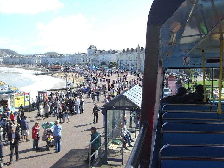 Show item 4 of 10. Views of Llandudno from a hop-on hop-off bus