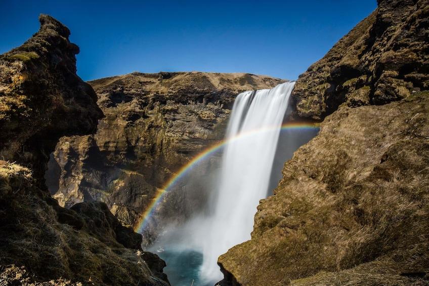 Seljalandsfoss Waterfall on a sunny day