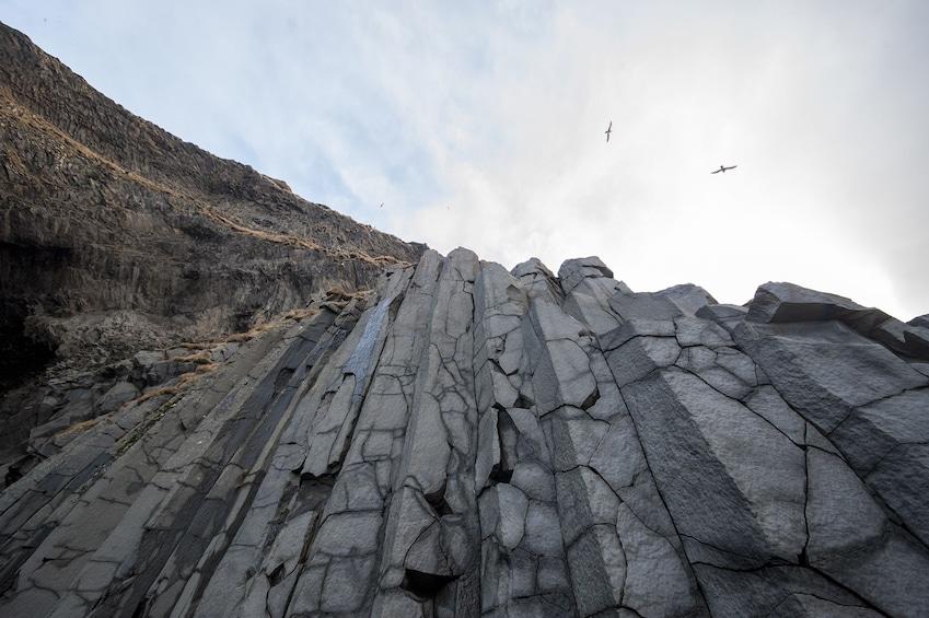 Grey basalt columns in Iceland