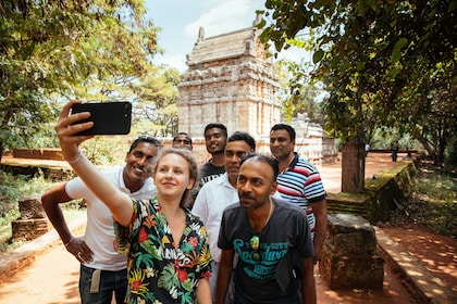 Group taking a selfie at the Dambulla cave temple