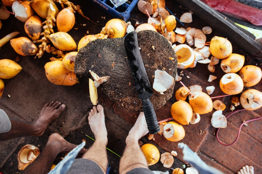 Coconut chopping block in Galle